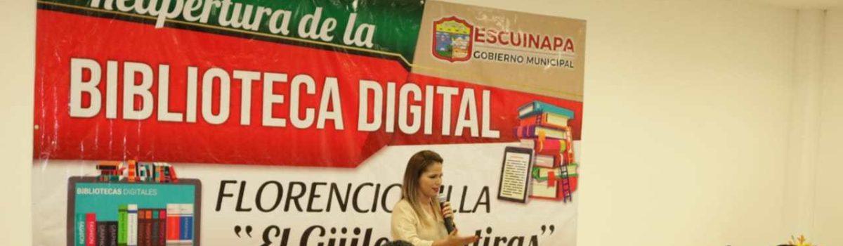 """Autoridades municipales llevan a cabo la reapertura de la Biblioteca Digital Florencio Villa """"El Güilo Mentiras""""."""