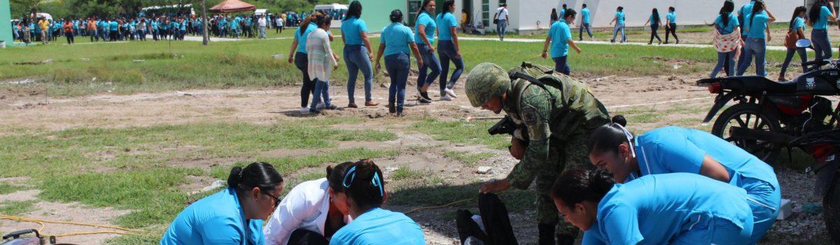 Se efectúa simulacro, en la Universidad Tecnológica de Escuinapa.