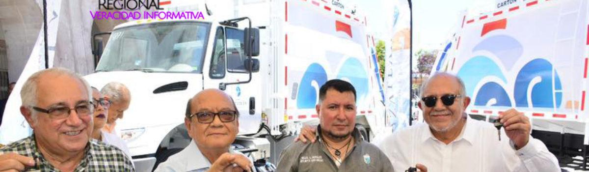 RECIBE AYUNTAMIENTO SIETE NUEVOS CAMIONES RECOLECTORES DE BASURA