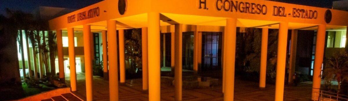 Congreso del Estado se ilumina de color naranja; poner fin a la violencia contra las mujeres, el objetivo